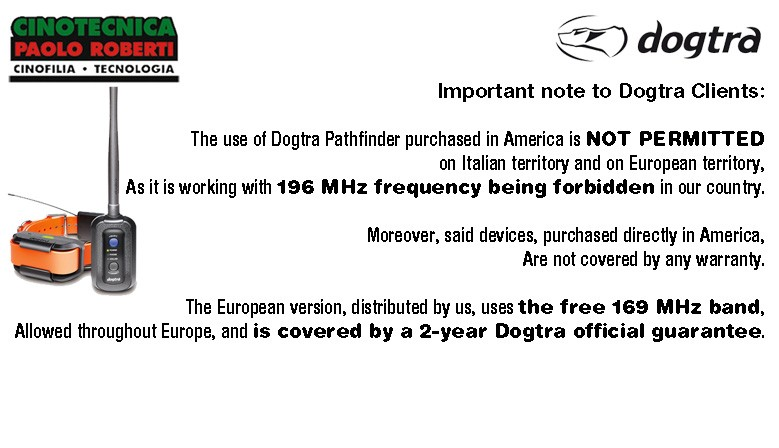 Dogtra Pathfinder - Note importante